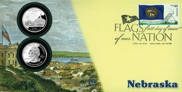 2010 44c Flags of Nation, NE Coin FDC
