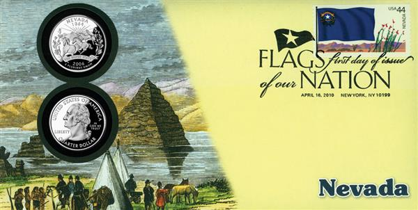 2010 44c Flags of Nation, NV Coin FDC