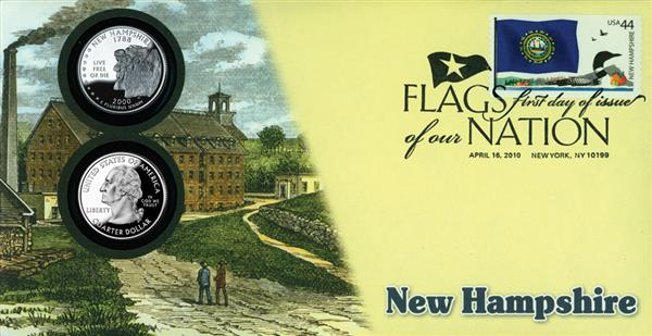 2010 44c Flags of Nation, NH Coin FDC