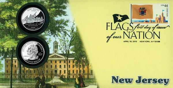 2010 44c Flags of Nation, NJ Coin FDC