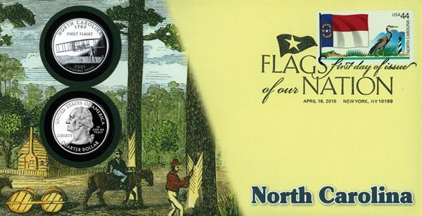 2010 44c Flags of Nation, NC Coin FDC