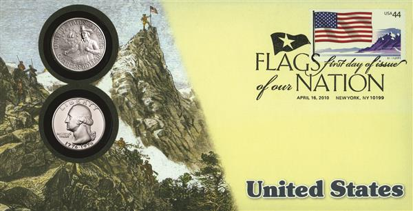 2010 44c Flags of Nation, US Coin FDC