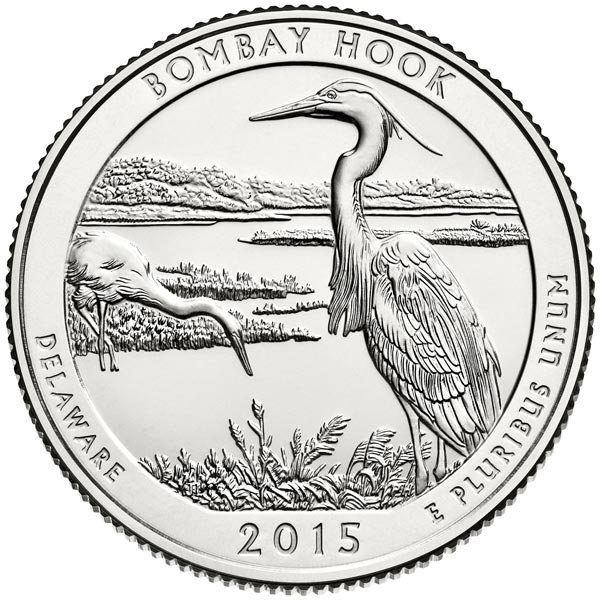 2015 Bombay Hook National Wildlife Refuge Quarter D Mint