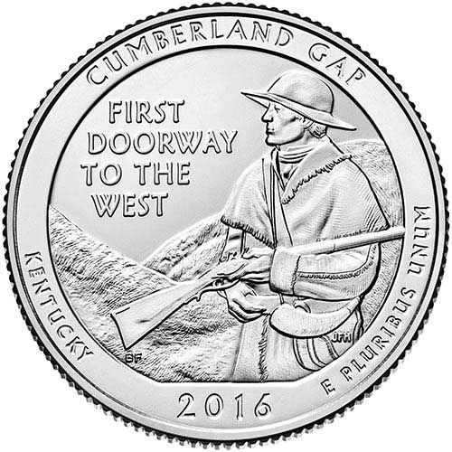 2016 Cumberland Gap National Forest P Mint Quarter