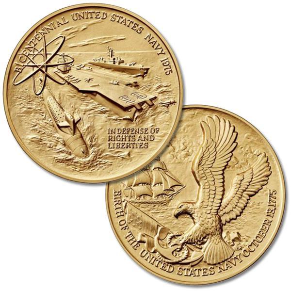 US Navy Bicentennial 3' Bronze Medal