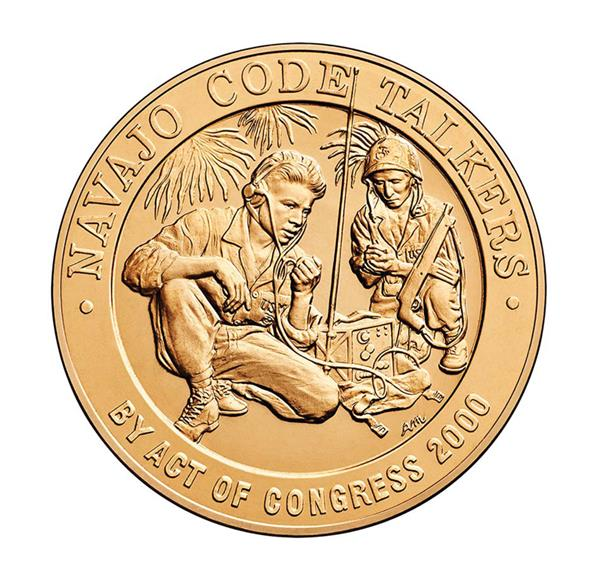 World War II Navajo Code Talkers, 1.5' Bronze Medal inscribed 'The Navajo Language Was Used to Defeat the Enemy'