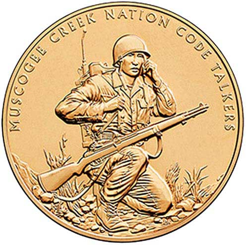 "Muscogee Creek Nation Code Talkers 1.5"" Bronze Medal"