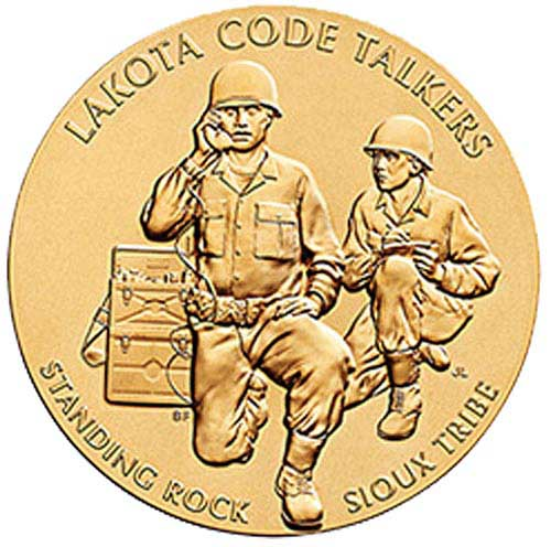"World War I & World War II Standing Rock Sioux Tribe Code Talkers 1.5"" Bronze Medal"