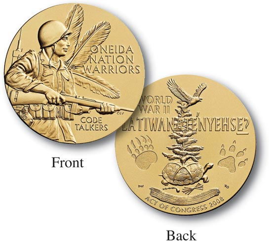 World War II Oneida Nation Code Talkers 1.5' Bronze Medal inscribed 'They Change Their Words'