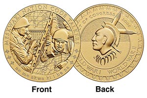 "World War I & World War II Meskwaki Nation Code Talkers 1.5"" Bronze Medal inscribed ""We Are the Red Earth People"""