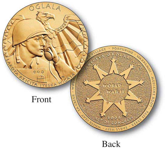 "World War II Oglala Sioux Tribe Code Talkers 1.5"" Bronze Medal inscribed ""Indian Soldier Translator Man"""