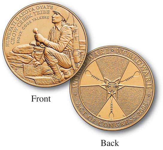 """Crow Creek Sioux Nation Code Talkers 1.5"""" Bronze Medal"""