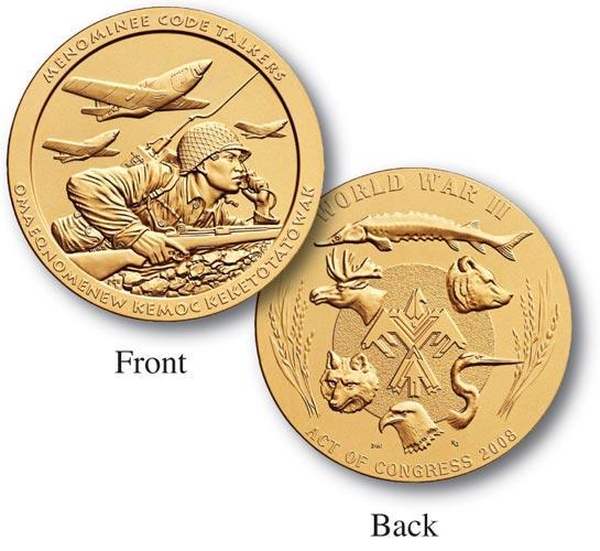 """Menominee Tribe Code Talkers 1.5"""" Bronze Medal"""