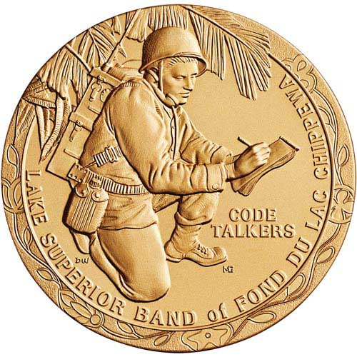 "Chippewa Tribe Code Talkers, 1.5"" Bronze Medal, Fond du Lac Banc of Lake Superior"