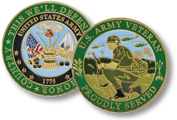 Army Proudly Served Challenge Coin for sale at Mystic Stamp