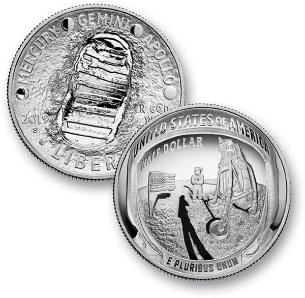 2019 Apollo 11 50th Anniversary, 1/2 Dollar Proof Clad