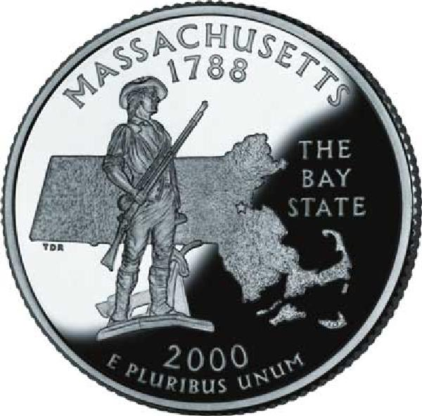 2000 Massachusetts State Quarter, D Mint