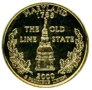 2000 Maryland State Quarter, gold-plated