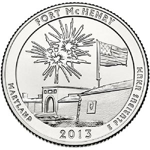 2013 Ft. McHenry National Monument & Historical Shrine D Mint Quarter
