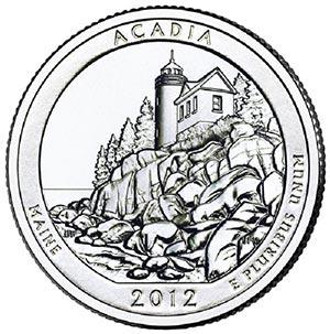 2012 Acadia National Park Quarter, P Mint