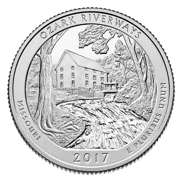 2017 Ozark National Scenic River Way P Mint Quarter