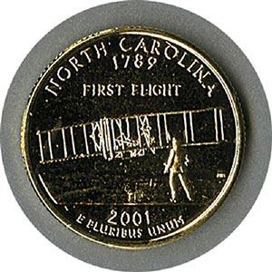 2001 N Carolina State Quarter gold plate