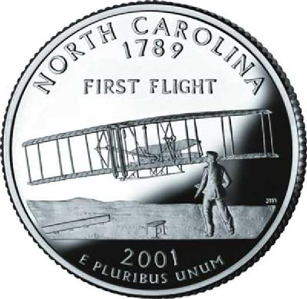 2001 N Carolina State Quarter, P Mint