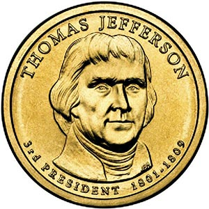 2007 $1.00 President Jefferson, D mint