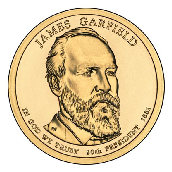 2011 $1.00 President James Garfield, P