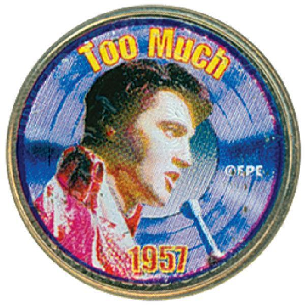 Elvis 'Too Much' color-enhanced U.S. quarter