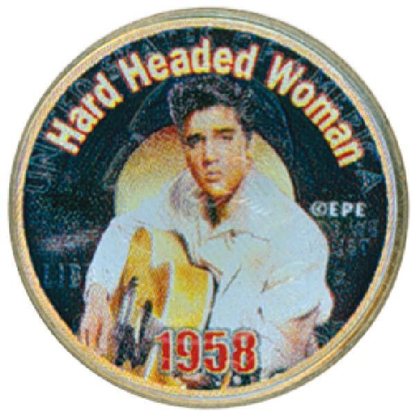 "Elvis ""Hard Headed Woman"" color-enhanced U.S. quarter"