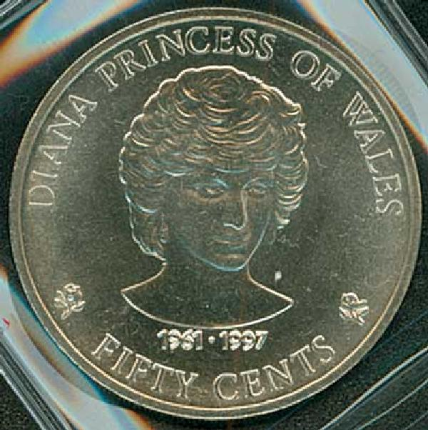 """1997 Cook Is. Cupro-Nickel Coin,""""Diana"""""""
