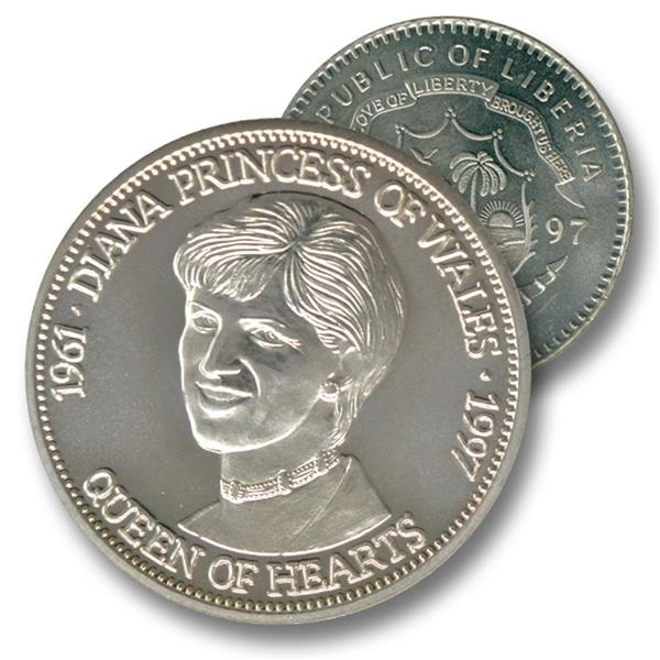 1997 Liberia $5 Diana - Queen of Hearts