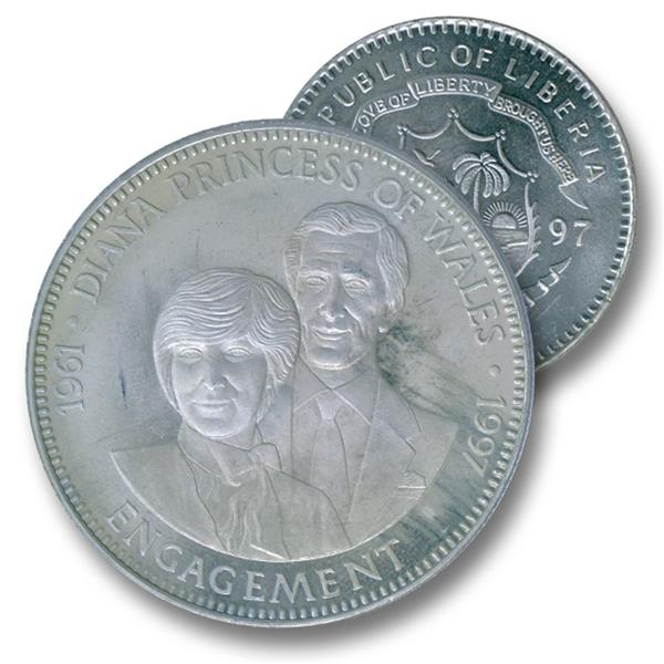 1997 Liberia $5 Engagement to Charles