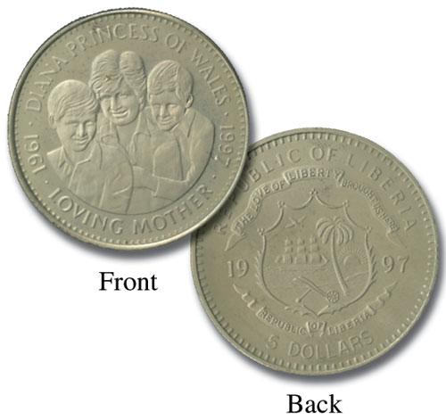 "1997 Liberia $5 ""Diana - Loving Mother"""