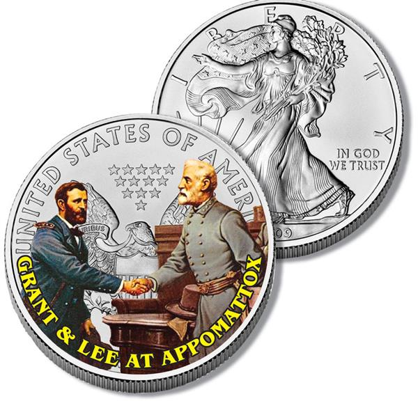 $1.00 Lee and Grant at Appomattox Silver