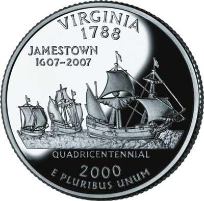 2000 Virginia State Quarter, P mint
