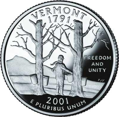 2001 Vermont State Quarter, D mint