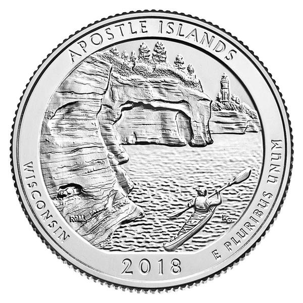 2018 Apostle Islands, National Lakeshore in Wisconsin D Mint Quarter