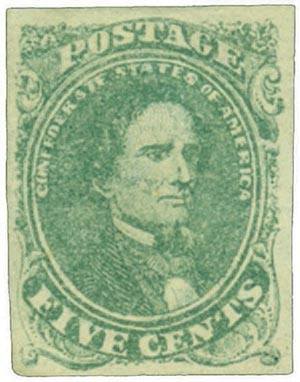 1861 5c Confederate States - Jefferson Davis - green, soft paper, imperf (Hoyer & Ludwig)