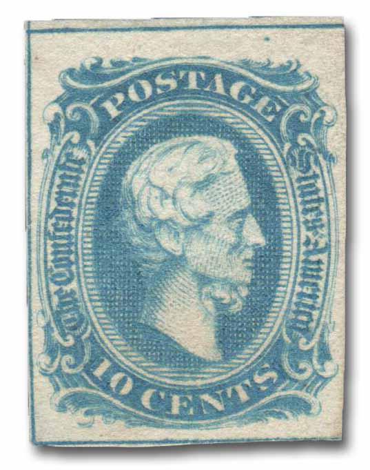 1863 10c Confederate States - Jefferson Davis - blue, soft paper, frame-line (Archer & Daly)