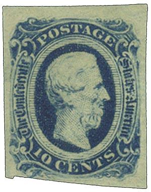 1863-64 10c Confederate States - Jefferson Davis - blue, no frame-line (Die A)