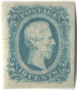 1863-64 10c Confederate States - Jefferson Davis - milky blue, no frame-line (Die A)