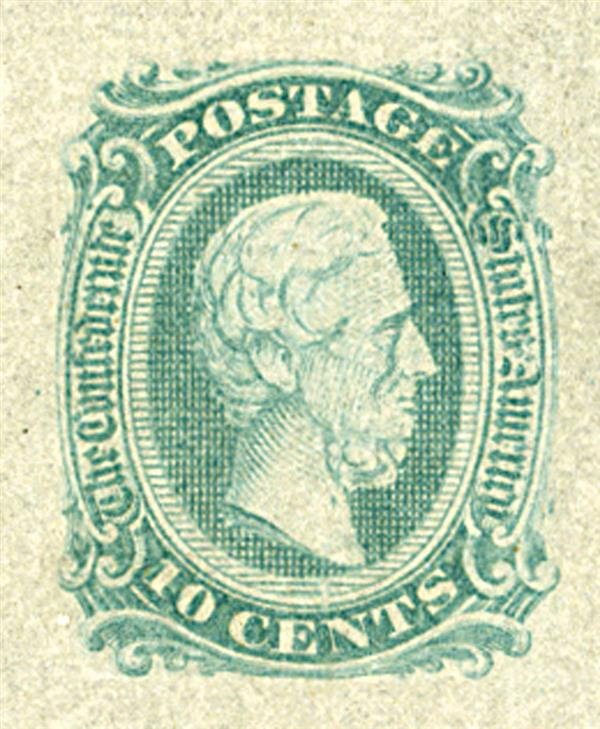 1863-64 10c Confederate States - Jefferson Davis - greenish-blue, no frame-line (Die A)