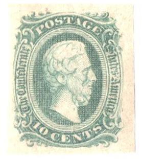 1863-64 10c Confederate States - Jefferson Davis - green, no frame-line (Die A)