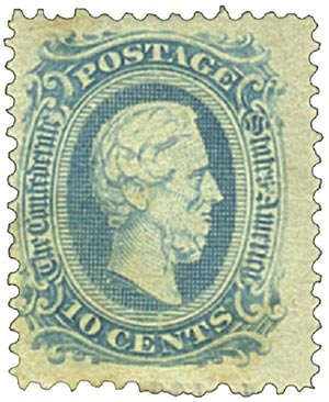 1863-64 10c Confederate States - Jefferson Davis - blue, officially perforated 12.5, no frame-line (Die A)