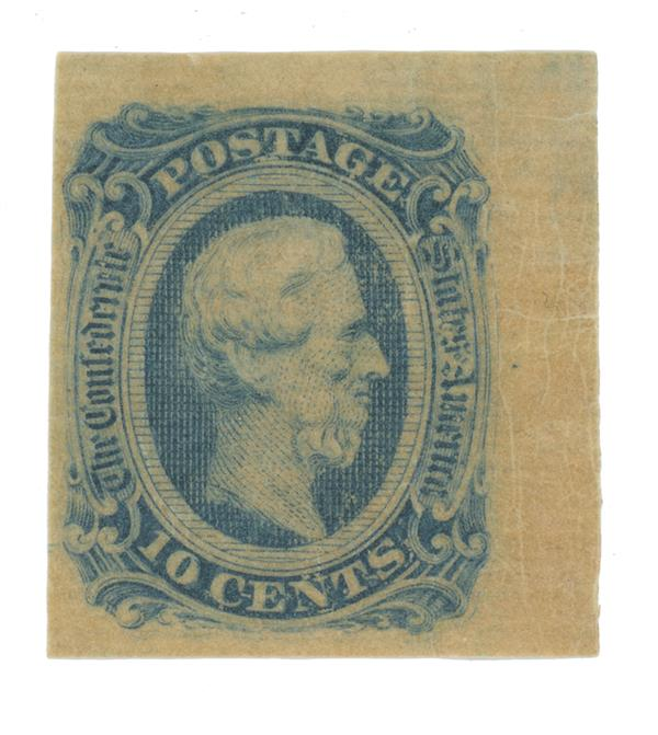 1863-64 10c Confederate States - Jefferson Davis - blue (Die B)