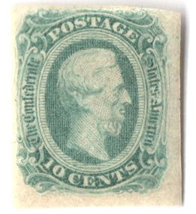 1863-64 10c Confederate States - Jefferson Davis - green (Die B)