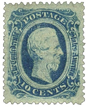 1863-64 10c Confederate States - Jefferson Davis - blue, officially perforated 12.5 (Die B)