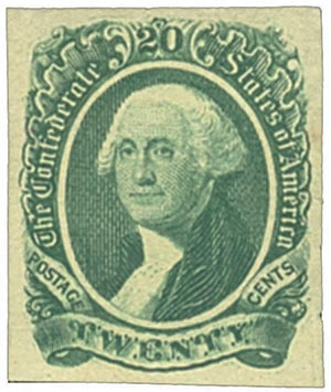 1863 20c Confederate States - George Washington - green